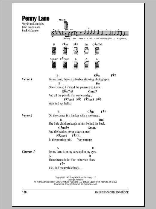 Tablature guitare Penny Lane de The Beatles - Ukulele (strumming patterns)