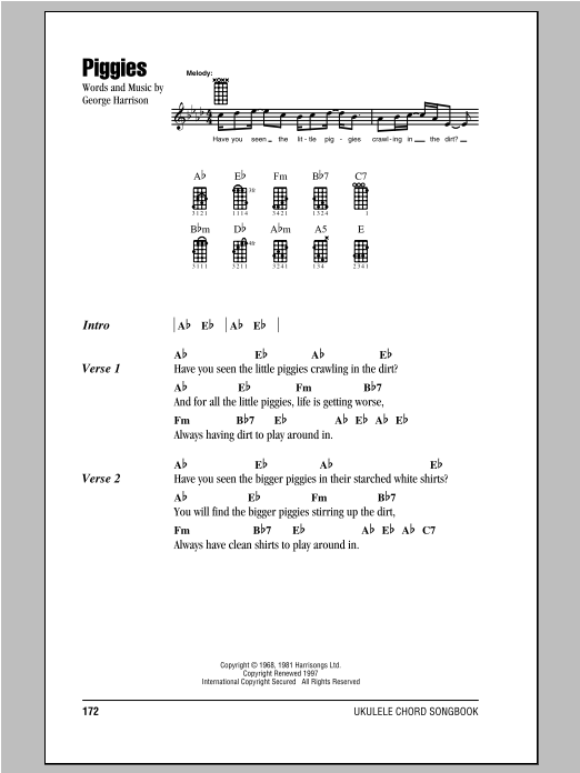 Tablature guitare Piggies de The Beatles - Ukulele (strumming patterns)