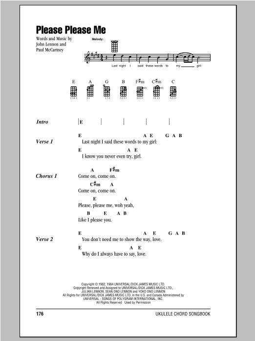 Tablature guitare Please Please Me de The Beatles - Ukulele (strumming patterns)