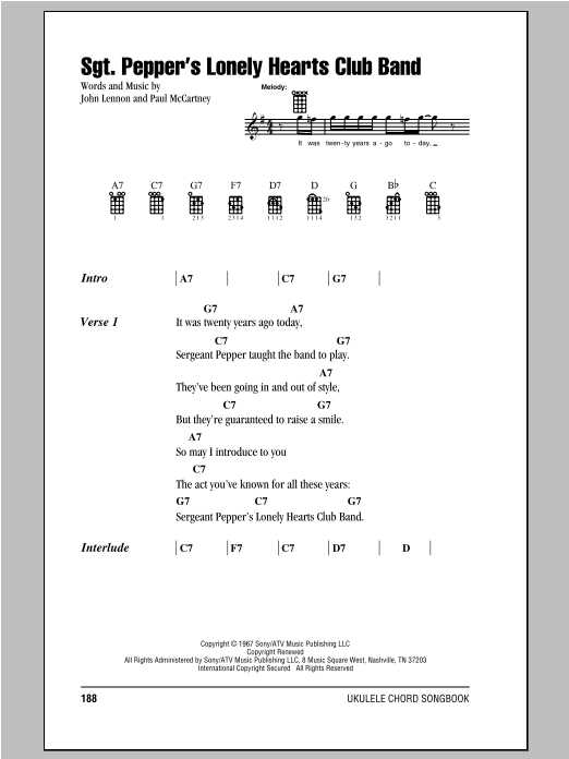 Tablature guitare Sgt. Pepper's Lonely Hearts Club Band de The Beatles - Ukulele (strumming patterns)