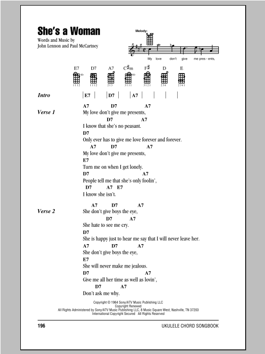 Tablature guitare She's A Woman de The Beatles - Ukulele (strumming patterns)