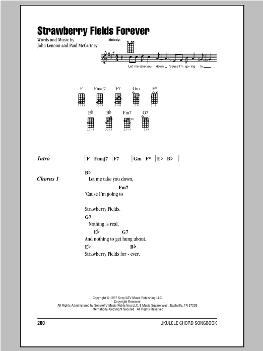 Tablature guitare Strawberry Fields Forever de The Beatles - Ukulele (strumming patterns)