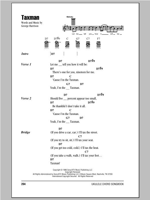 Tablature guitare Taxman de The Beatles - Ukulele (strumming patterns)
