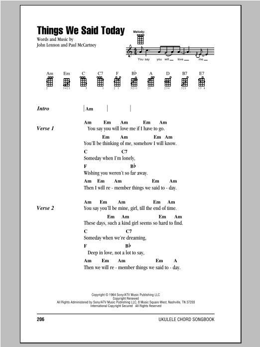 Tablature guitare Things We Said Today de The Beatles - Ukulele (strumming patterns)