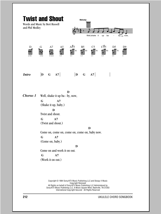 Tablature guitare Twist And Shout de The Beatles - Ukulele (strumming patterns)