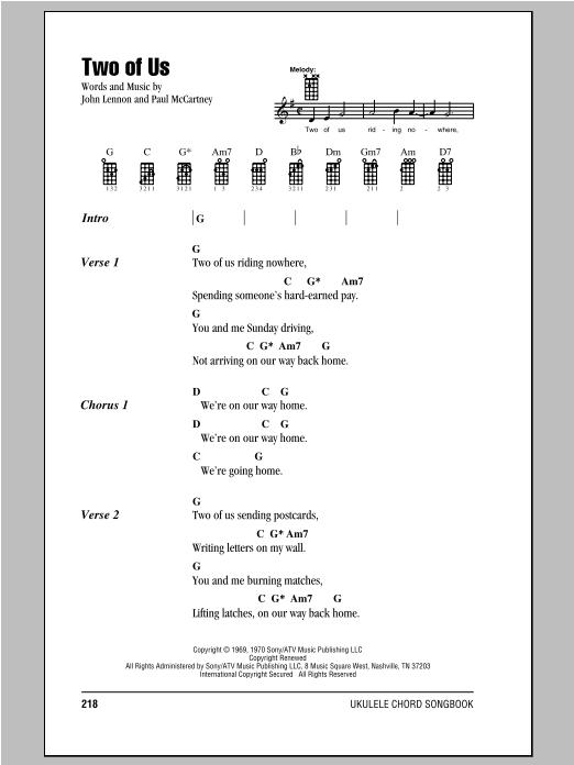 Tablature guitare Two Of Us de The Beatles - Ukulele (strumming patterns)