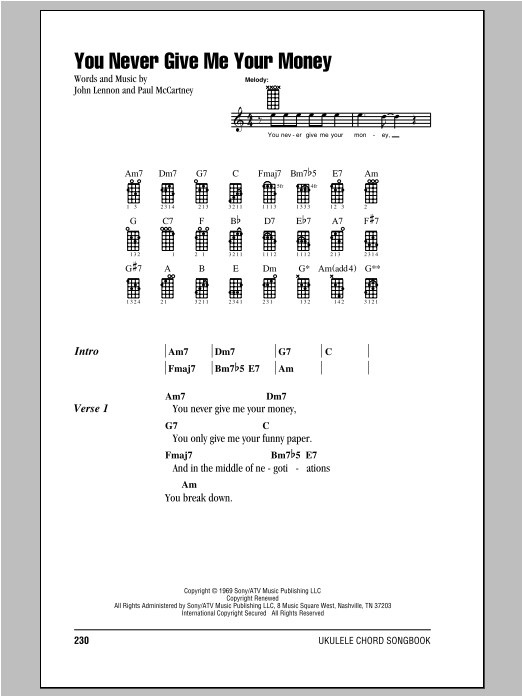 Tablature guitare You Never Give Me Your Money de The Beatles - Ukulele (strumming patterns)
