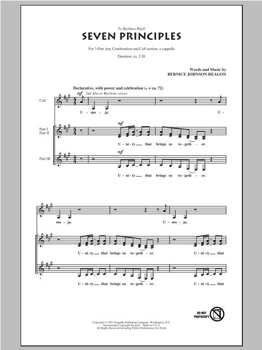 Partition autre Seven Principles de Sweet Honey in the Rock - 3 voix mixtes