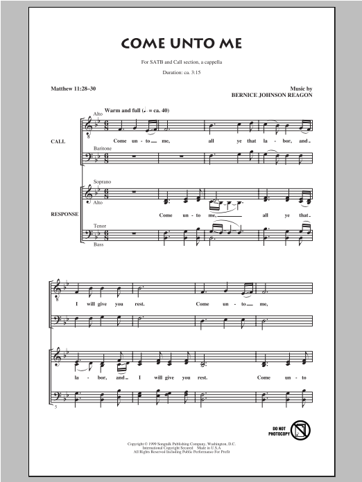 Partition autre Come Unto Me de Sweet Honey in the Rock - SATB