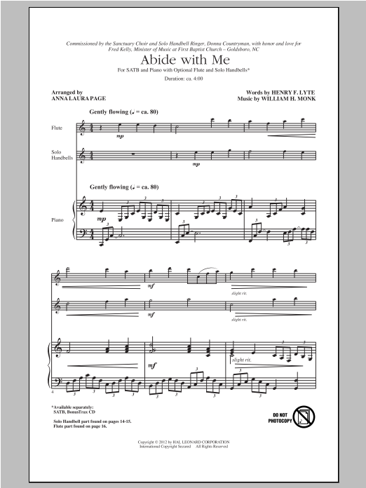 Partition chorale Abide With Me de Anna Laura Page - SATB
