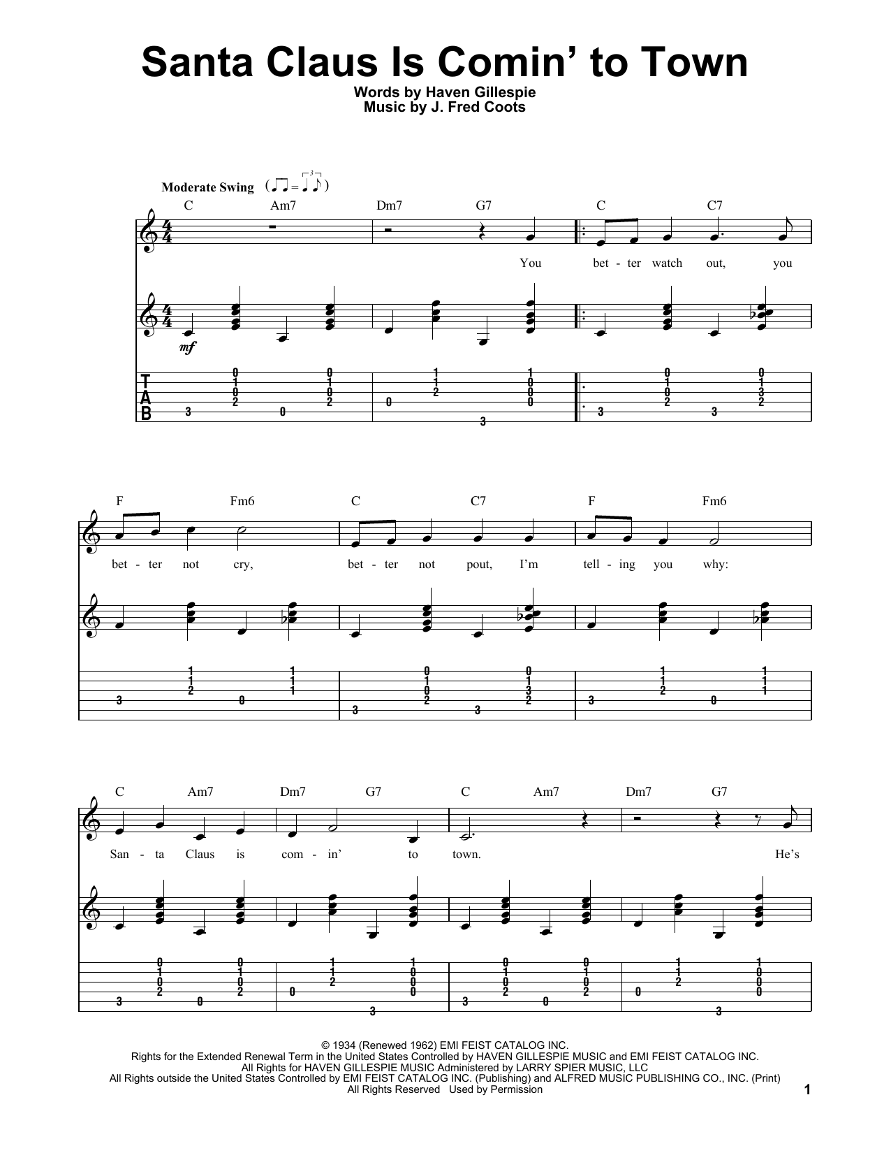 Tablature guitare Santa Claus Is Comin' To Town de J. Fred Coots - Tablature guitare facile