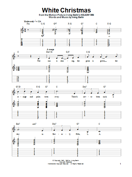 Guitar Instructor White Christmas by Irving Berlin - Guitar Tab Play-Along