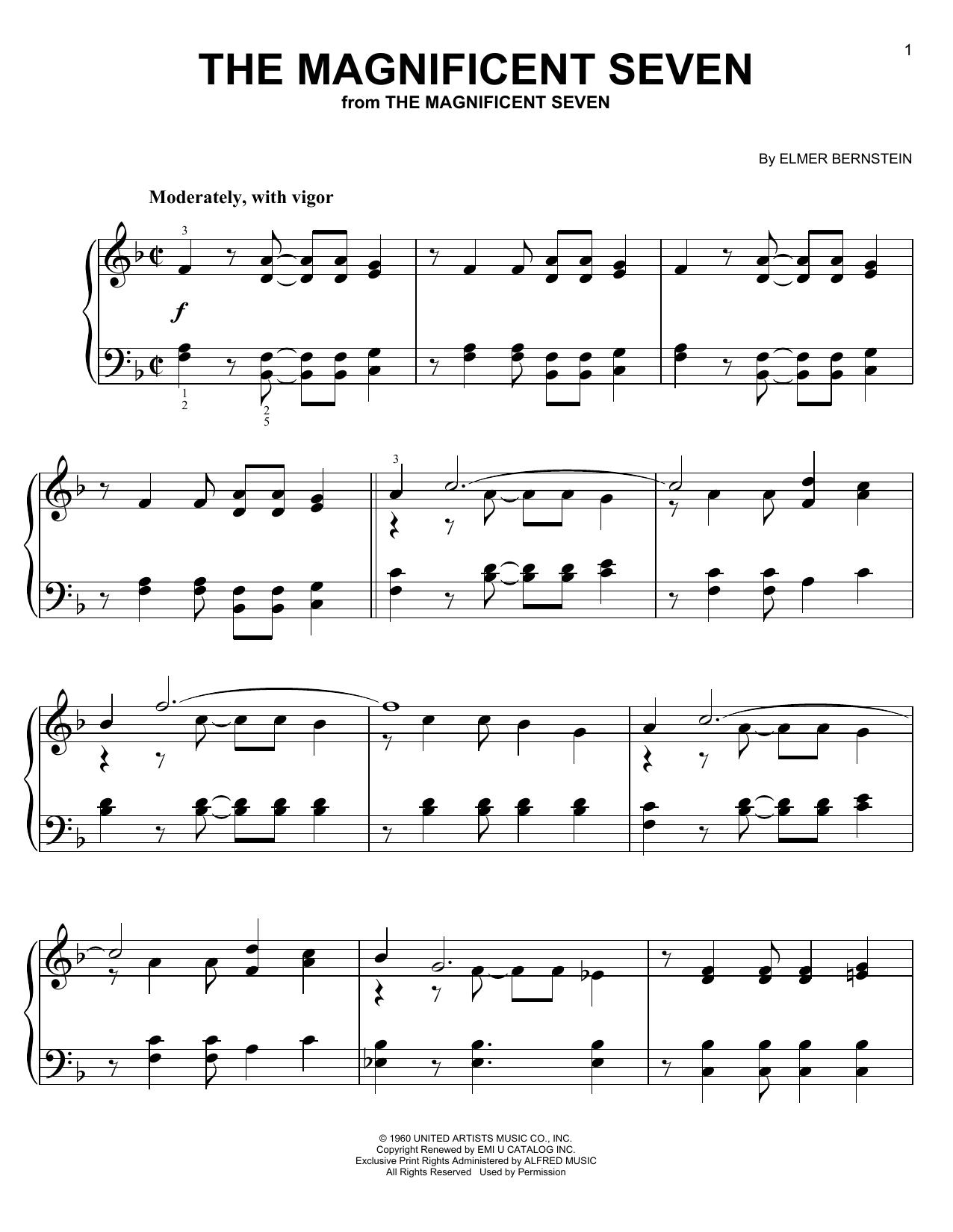 Partition piano The Magnificent Seven de Elmer Bernstein - Piano Facile