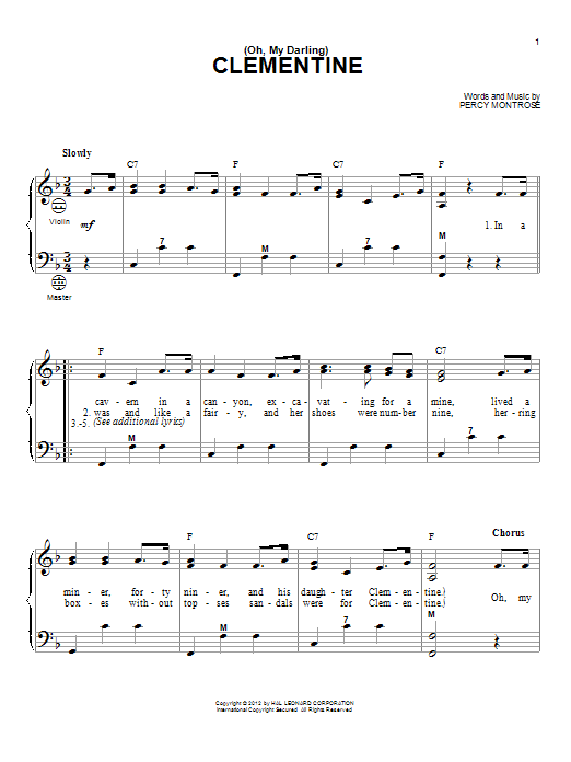 (Oh, My Darling) Clementine sheet music for accordion by Gary Meisner