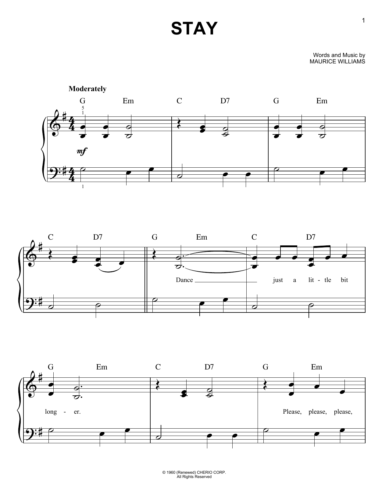 Sheet Music Digital Files To Print - Licensed Maurice Williams ...