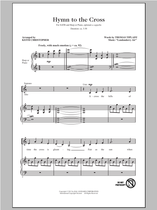 Hymn To The Cross sheet music for choir and piano (SATB) by Londonderry Air