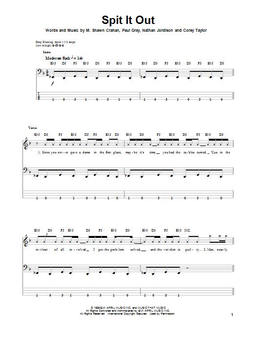 Tablature guitare Spit It Out de Slipknot - Tablature Basse