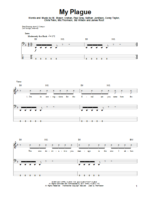 Tablature guitare My Plague de Slipknot - Tablature Basse
