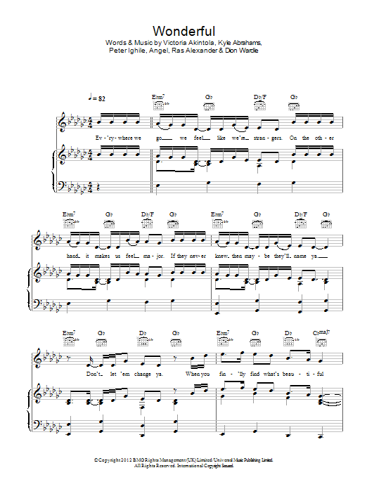 Wonderful sheet music for voice, piano or guitar by Victoria Akintola
