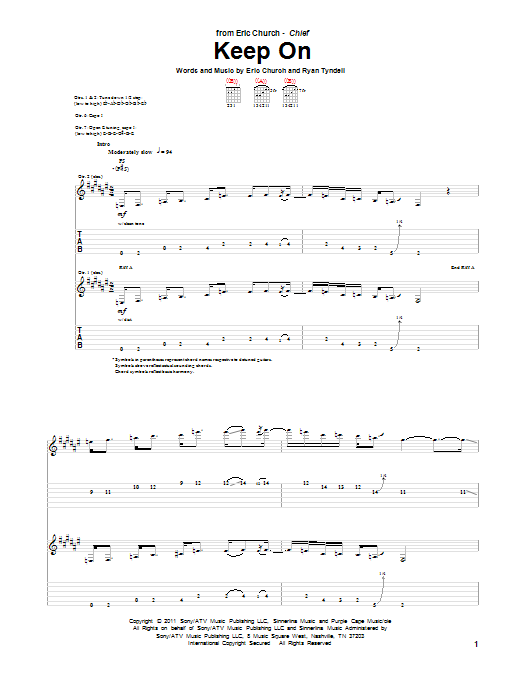 Tablature guitare Keep On de Eric Church - Tablature Guitare