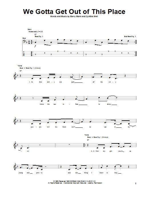 Tablature guitare We Gotta Get Out Of This Place de The Animals - Tablature Basse