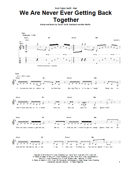Tablature guitare We Are Never Ever Getting Back Together de Taylor Swift - Tablature Guitare