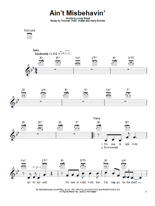 Ain't Misbehavin' sheet music for ukulele by Harry Brooks