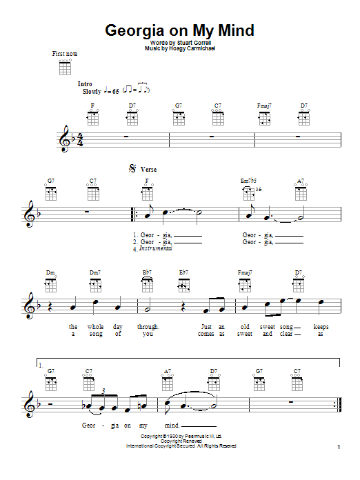 Georgia On My Mind sheet music for ukulele by Stuart Gorrell