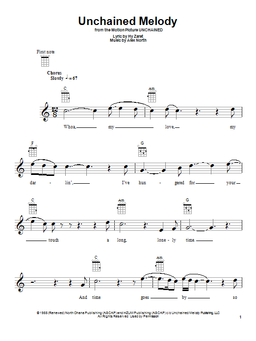 Tablature guitare Unchained Melody de The Righteous Brothers - Ukulele