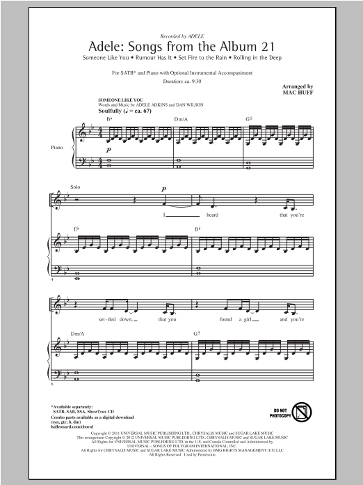 Partition chorale Songs From The Album 21 (Medley) de Adele - SATB