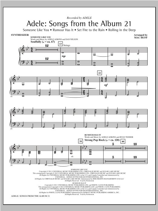 Adele: Songs From The Album 21 (Medley) (COMPLETE) sheet music for orchestra by Mac Huff