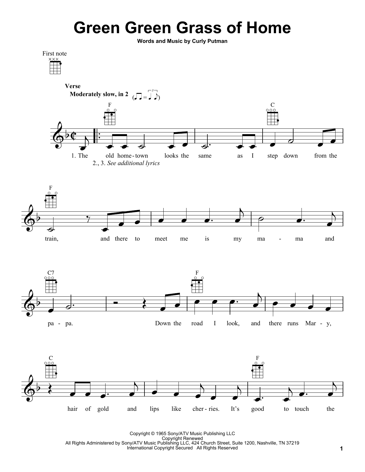 Green Green Grass Of Home | Sheet Music Direct