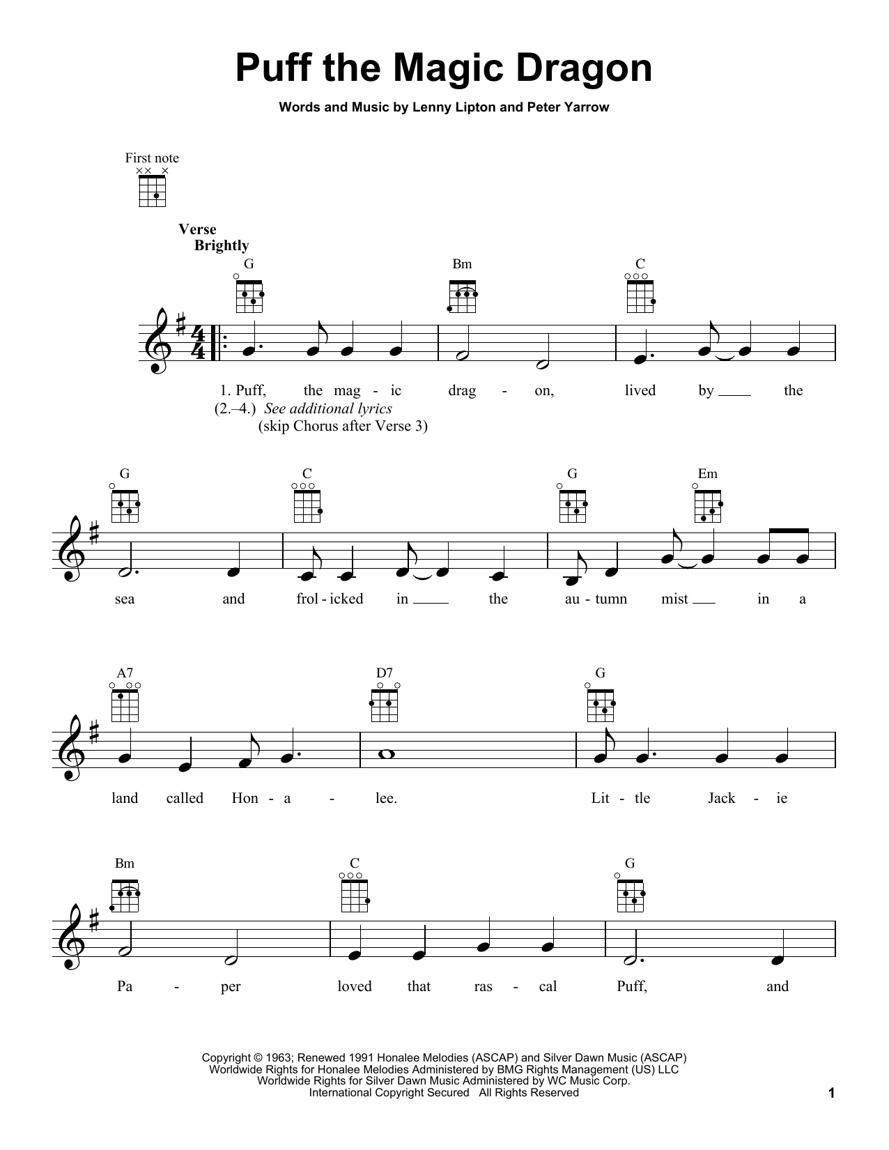 Tablature guitare Puff The Magic Dragon de Peter, Paul & Mary - Ukulele