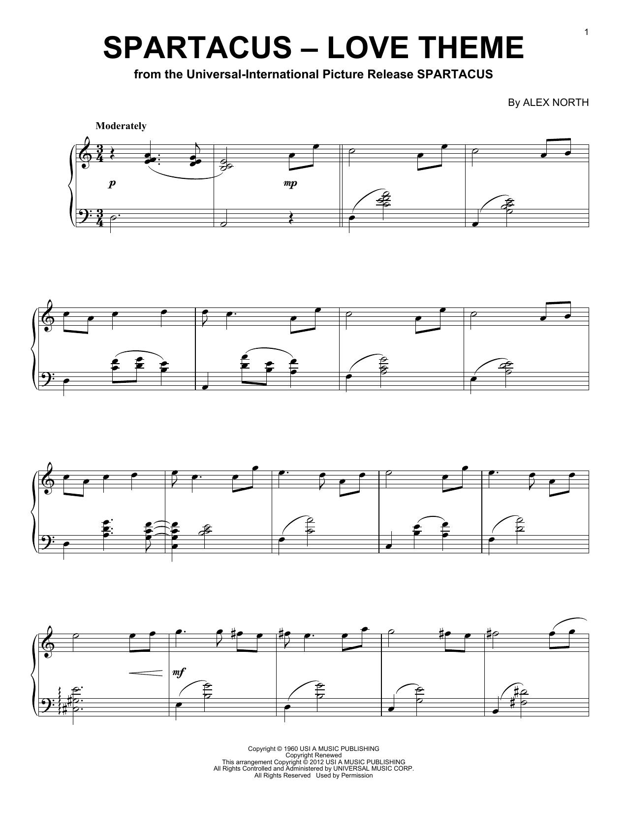 Partition piano Spartacus - Love Theme de Alex North - Piano Solo