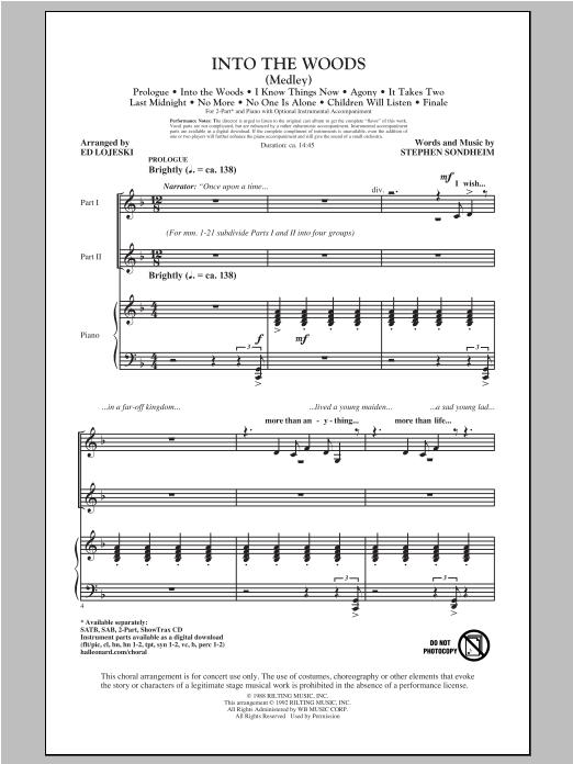 Partition chorale Into The Woods (Medley) de Stephen Sondheim - 2 voix
