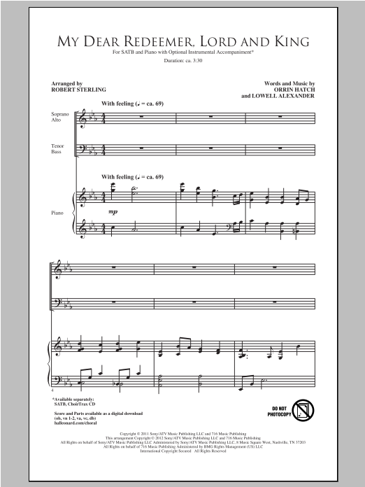 Partition chorale My Dear Redeemer, Lord And King de Robert Sterling - SATB