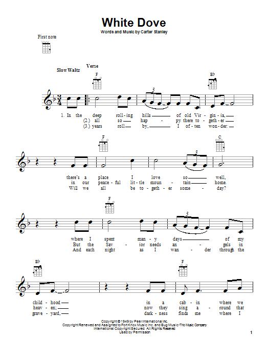 Tablature guitare White Dove de Carter Stanley - Ukulele