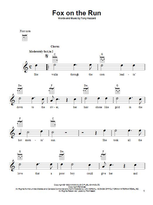 Tablature guitare Fox On The Run de Tony Hazzard - Ukulele