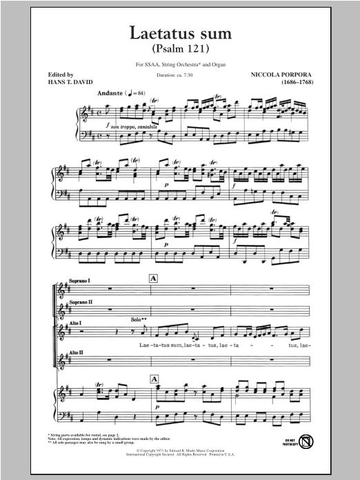 Partition chorale Laetatus Sum (Psalm 121) de Hans T. David - SSA