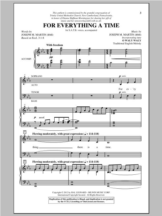 Partition chorale For Everything A Time de Joseph Martin - SATB