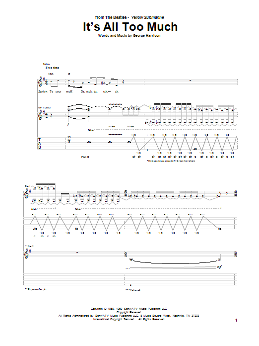 Tablature guitare It's All Too Much de The Beatles - Tablature Guitare