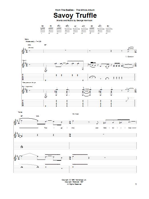 Tablature guitare Savoy Truffle de The Beatles - Tablature Guitare