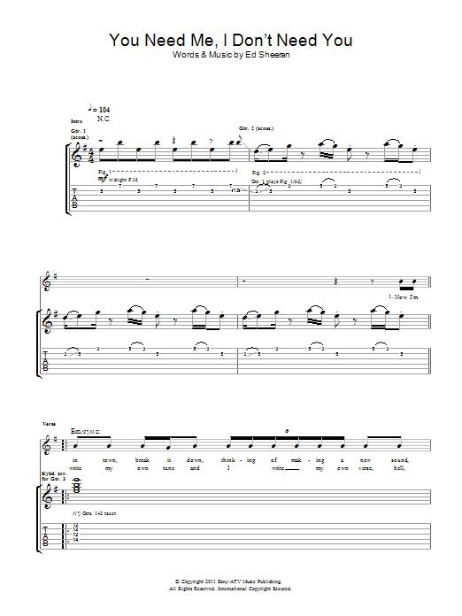 You need me i don 39 t need you sheet music direct - Ed sheeran dive chords ...