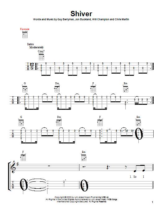 Tablature guitare Shiver de Coldplay - Ukulele