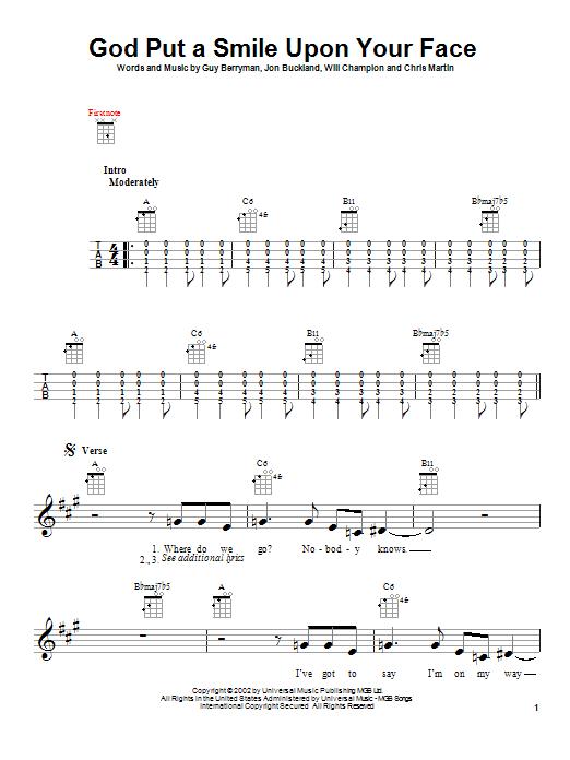 Tablature guitare God Put A Smile Upon Your Face de Coldplay - Ukulele