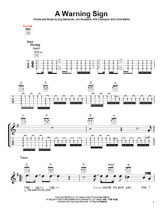 Tablature guitare A Warning Sign de Coldplay - Ukulele