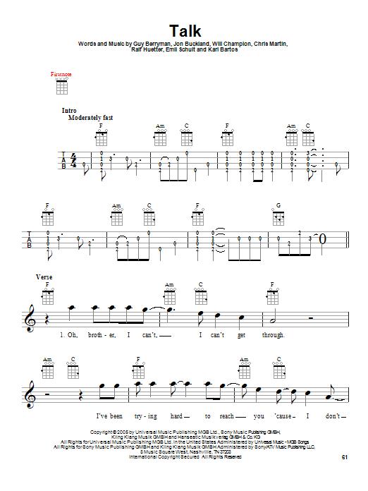 Tablature guitare Talk de Coldplay - Ukulele
