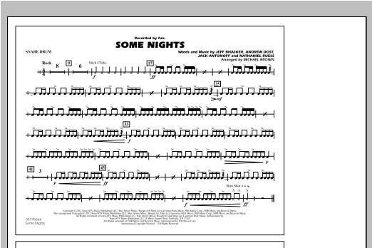 Drum jazz drum tabs : Some Nights - Snare Drum - Sheet Music at Stanton's Sheet Music