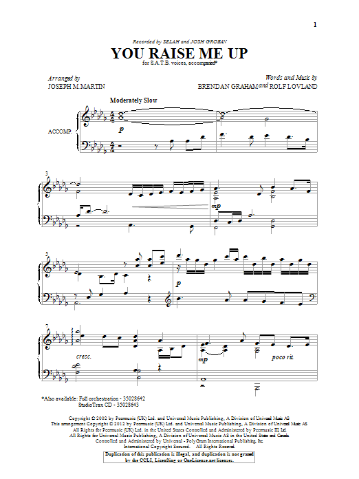 Partition chorale You Raise Me Up de Rolf Løvland - SATB