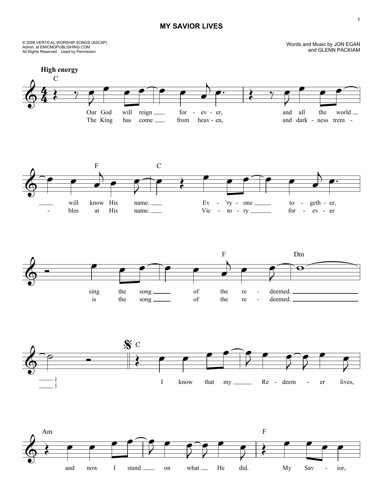 Sheet music digital files to print licensed jon egan digital my savior lives hexwebz Images